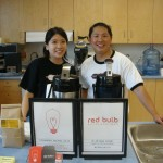 Gloria and Cheeyuen selling coffee